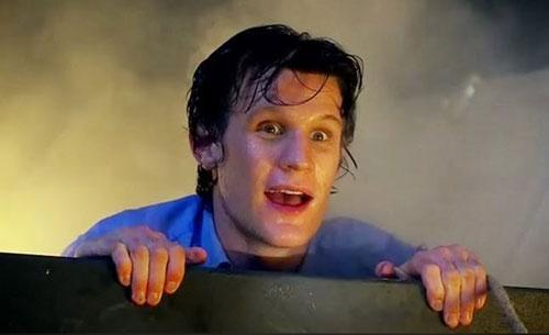 Matt Smith Appears From The TARDIS